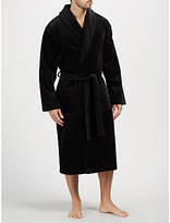 John Lewis Pure Cotton Velour Robe, Black