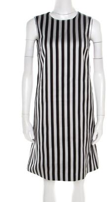 Dolce & Gabbana Monochrome Cotton Silk Striped Shift Dress XS