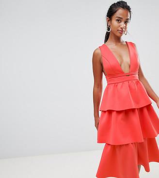ASOS DESIGN Petite Tiered Prom Midi Dress