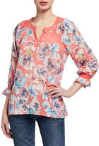 Neiman Marcus Notch-Neck Blouse With 3/4 Smocked Sleeves