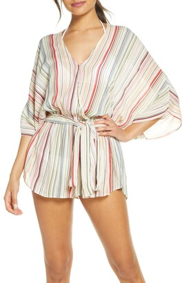 Elan International Stripe Cover-Up Romper