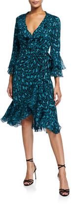 Diane von Furstenberg Carli Leopard-Print Ruffle Wrap Dress