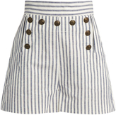 Zimmermann Zephyr striped cotton and linen-blend shorts