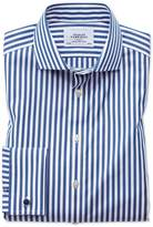 Charles Tyrwhitt Slim Fit Spread Collar Non-Iron Bengal Stripe Blue Cotton Dress Casual Shirt Single Cuff Size 14.5/33