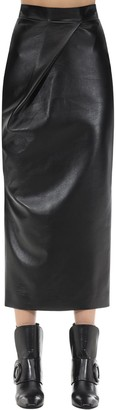 MATÉRIEL Draped Faux Leather Skirt