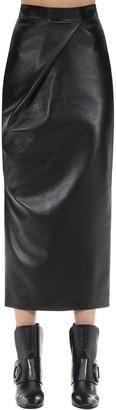 MATÉRIEL Draped Faux Leather Skirt
