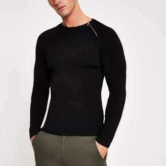 River Island Mens Black zip neck muscle fit ribbed jumper