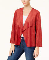 Alfred Dunner Petite Faux-Suede Draped Jacket