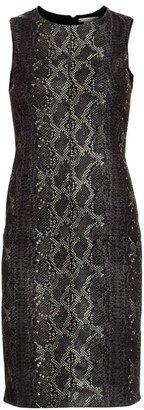 Alice + Olivia Larita Snakeskin Embossed Leather Sheath Dress