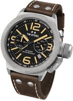 TW Steel CS33 Men's Canteen Leather Dial Dark Brown Strap Chronograph Date Watch