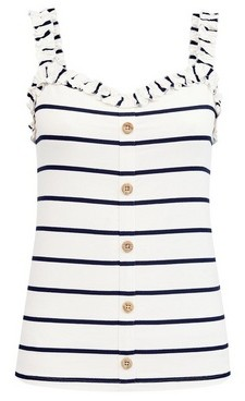 Dorothy Perkins Womens Ivory Striped Button Through Vest, Ivory