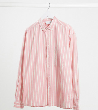 ASOS DESIGN Tall 90s oversized shirt in pink oxford stripe