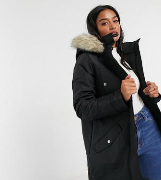 Vero Moda Petite parka with faux fur hood in black