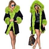 Roiii Plus Size Womens Winter Faux Fur Hooded Camouflage Parka Long Jacket (M, )