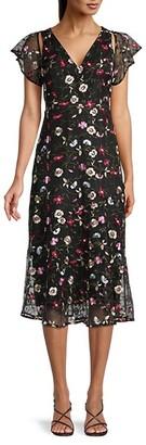 Sam Edelman Floral Embroidered Mesh Midi Dress