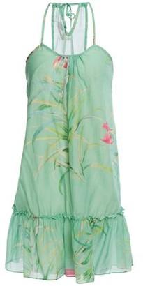 Adriana Degreas Gathered Printed Cotton And Silk-blend Mini Dress