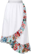 I'M Isola Marras printed frill trim wrap front skirt