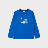 Paul Smith Boys' 7+ Years Blue Zebra Crossing Print 'Mowgli' Top