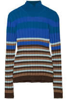 Marni Striped Ribbed Wool Turtleneck Sweater - Blue