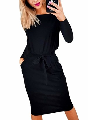 PRETTYGARDEN Women's 2020 Casual Long Sleeve Party Bodycon Sheath Belted Dress with Pockets - black - Medium