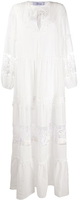 Blumarine Tiered Style Embroidered Detail Dresd