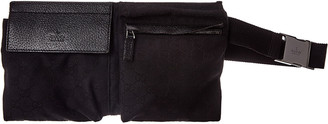 Gucci Black Gg Canvas & Leather Waist Pouch