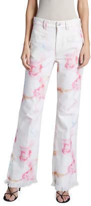 Isabel Marant High-Rise Tie-Dye Boyfriend Jeans with Raw Hem