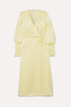 Art Dealer - Kate Polka-dot Silk-jacquard Wrap Dress - Pastel yellow