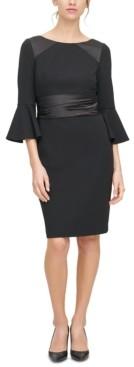 Harper Rose Bell-Sleeve Satin-Trim Dress