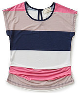 Blu Pepper Big Girls 7-16 Large Stripes Short-Sleeved Top