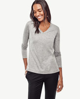 Ann Taylor Cotton V-Neck Long Sleeve Tee
