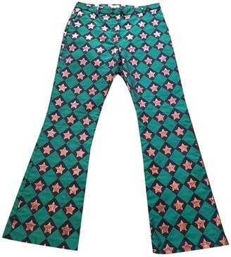 Au Jour Le Jour Green Trousers for Women
