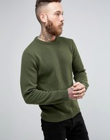 Asos Lambswool Rich Crew Neck Sweater in Moss Green