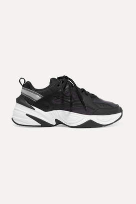 Nike M2k Tekno Leather And Mesh Sneakers - Black