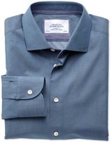 Charles Tyrwhitt Slim Fit Semi-Spread Collar Business Casual Indigo Cotton Dress Shirt Single Cuff Size 16.5/35