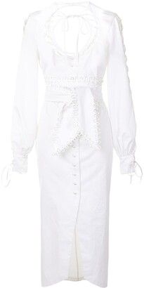 CLAN Lace-Up Detail Poplin Dress