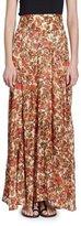 Isabel Marant Ferone Floral-Burnout Long Silk-Blend Skirt