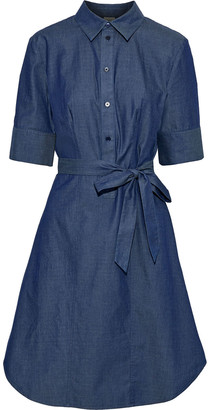 Iris & Ink Avery Belted Cotton-chambray Dress