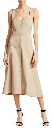 A.L.C. Varelli Button-Front Midi Dress