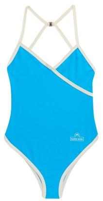 Marine Serre Logo-print Swimsuit - Blue