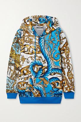Moschino Printed Tech-jersey Hoodie - Blue