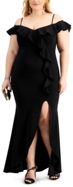 Betsy & Adam Plus Size Ruffled Off-The-Shoulder Gown