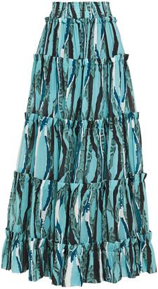 Roberto Cavalli Tiered Snake-print Cotton-poplin Maxi Skirt