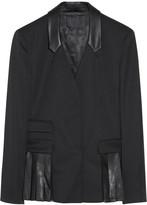 Alexander Wang Leather-trimmed wool-blend blazer