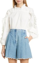 Sea Tabitha Ruffle Balloon Sleeve Stretch Cotton Blouse