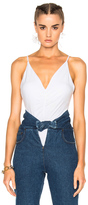 Alexander Wang Micro Modal Spandex Shirred Front Camisole in White.