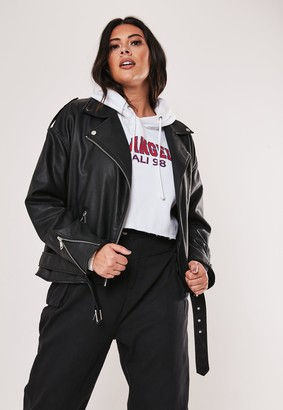 Missguided Plus Size Black Faux Leather Oversized Boyfriend Biker Jacket