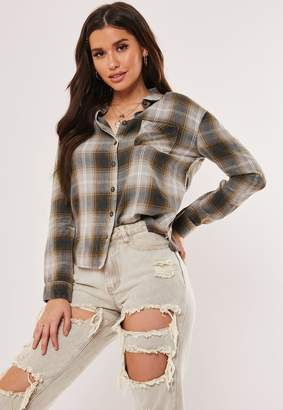 Missguided Navy Check Brushed Cotton Shirt
