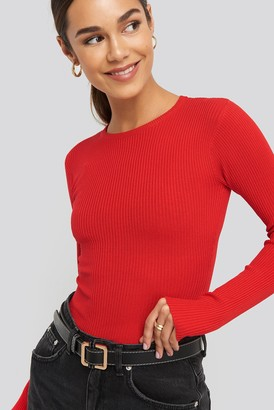 NA-KD Ribbed Knitted Round Neck Sweater Beige