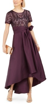 R & M Richards High-Low Sequin-Embellished Gown